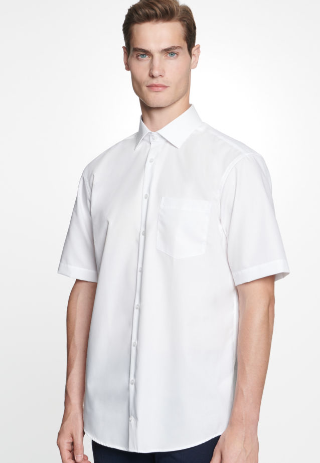 Non-iron Fil a fil Short sleeve Business Shirt in Regular with Kent-Collar in White |  Seidensticker Onlineshop