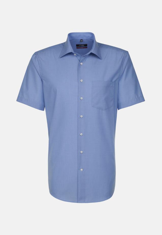 Bügelfreies Fil a fil Kurzarm Business Hemd in Modern mit Kentkragen in mittelblau    Seidensticker Onlineshop
