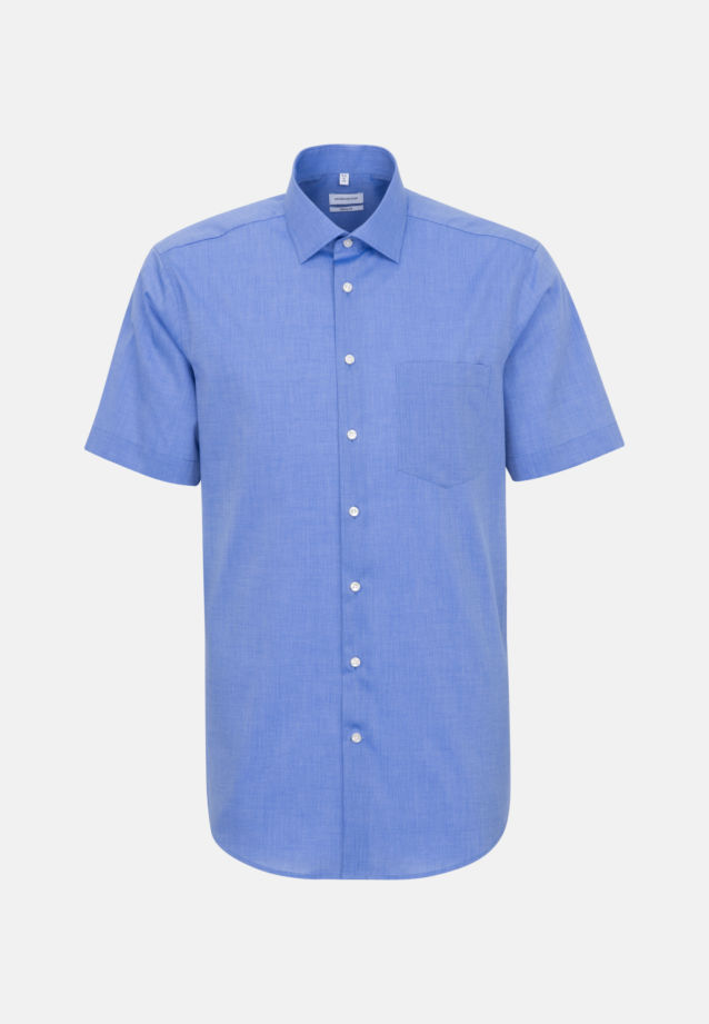 Non-iron Fil a fil Short sleeve Business Shirt in Regular with Kent-Collar in Medium blue |  Seidensticker Onlineshop