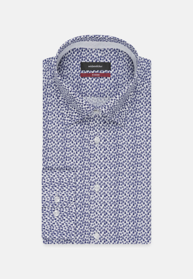 Bügelleichtes Popeline Business Hemd in Regular mit Covered-Button-Down-Kragen in Mittelblau    Seidensticker Onlineshop