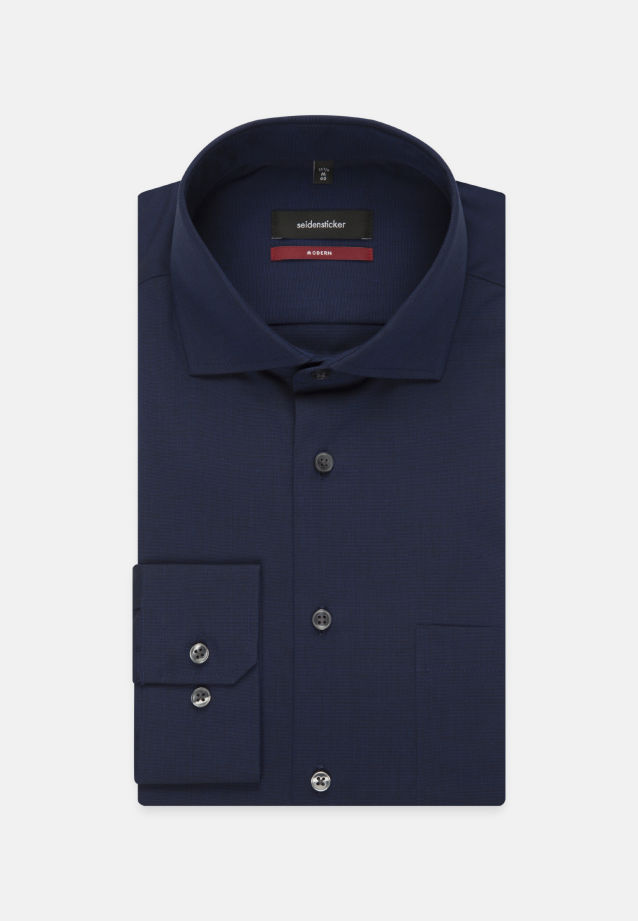 Bügelfreies Fil a fil Business Hemd in Modern mit Kentkragen in Dunkelblau |  Seidensticker Onlineshop