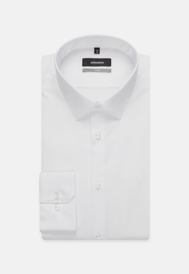 Non-iron Poplin Business Shirt in X-Slim with Kent-Collar and extra long arm in White |  Seidensticker Onlineshop