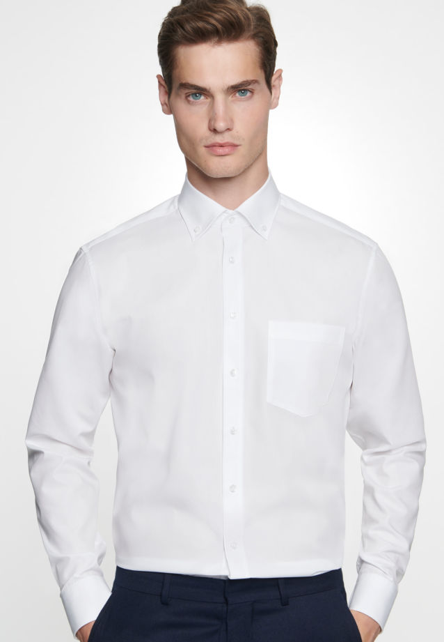Non-iron Poplin Business Shirt in Regular with Button-Down-Collar in White |  Seidensticker Onlineshop