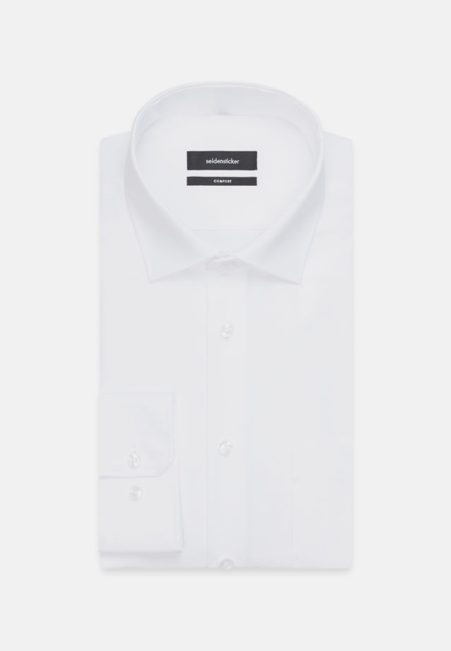 Non-iron Poplin Business Shirt in Comfort with Kent-Collar and extra long arm in weiß |  Seidensticker Onlineshop