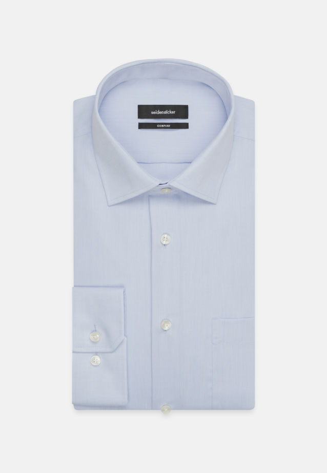 Non-iron Chambray Business Shirt in Comfort with Kent-Collar and extra long arm in Medium blue |  Seidensticker Onlineshop