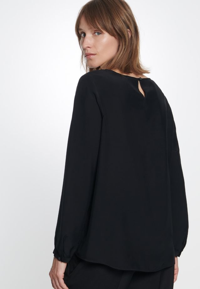 Voile Shirt Blouse made of 100% Viscose in Black |  Seidensticker Onlineshop