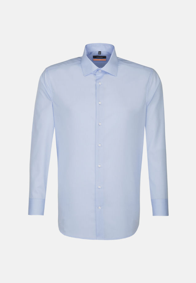 Non-iron Fil a fil Business Shirt in Slim with Kent-Collar and extra short sleeve in Hellblau |  Seidensticker Onlineshop