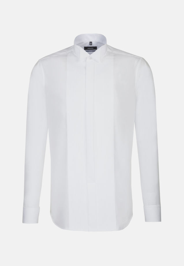 Bügelfreies Popeline Smokinghemd in Tailored mit Kläppchenkragen in weiß |  Seidensticker Onlineshop