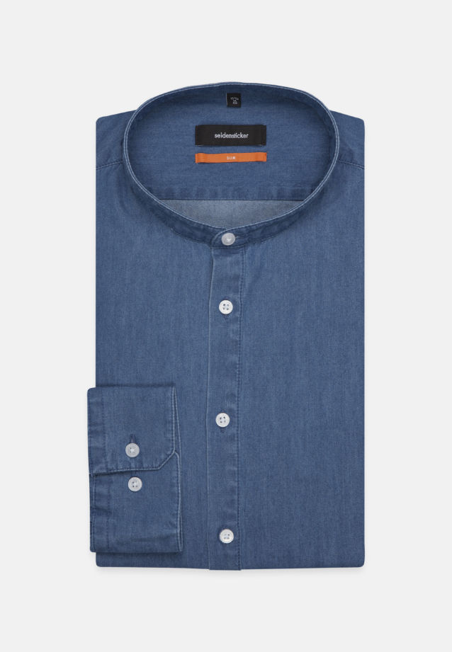 Bügelleichtes Denim Business Hemd in Slim mit Stehkragen in Mittelblau |  Seidensticker Onlineshop
