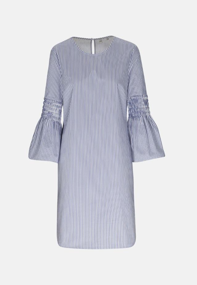 3/4 Arm Satin Longbluse aus 100% Baumwolle in blau weiß |  Seidensticker Onlineshop