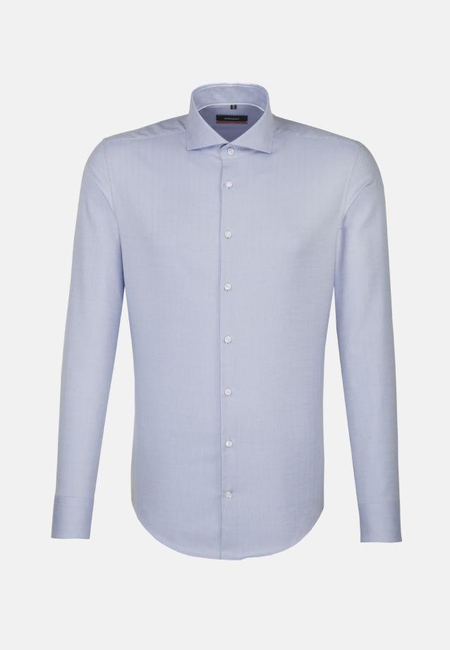 Non-iron Herringbone pattern Business Shirt in Slim with Shark Collar in Light blue |  Seidensticker Onlineshop