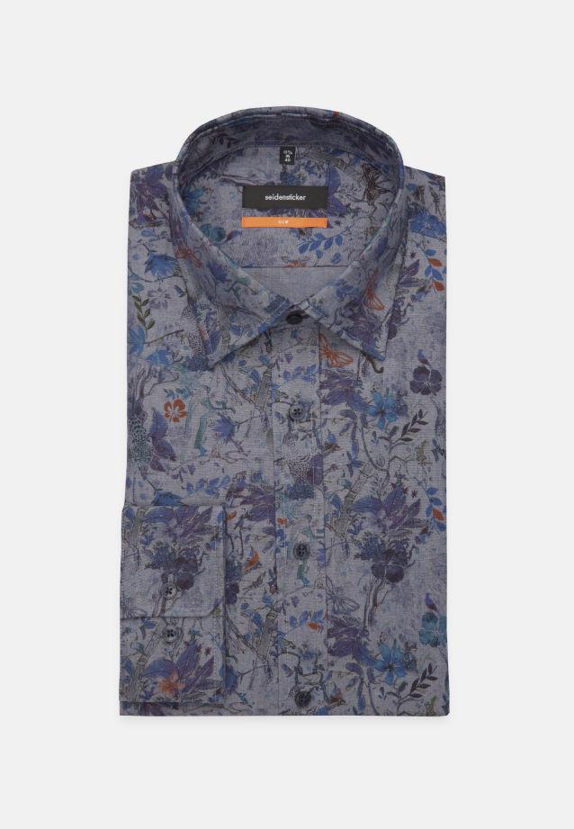 Bügelleichtes Popeline Business Hemd in Slim mit Covered-Button-Down-Kragen in Dunkelblau    Seidensticker Onlineshop