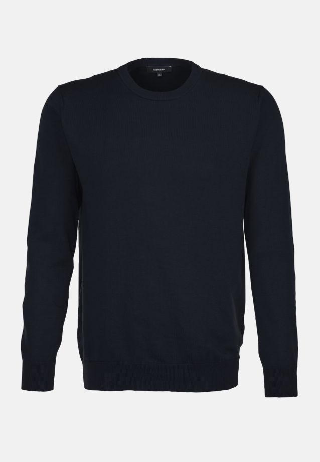 Rundhals Pullover aus 70% Baumwolle 30% Leinen/Flachs in Dunkelblau |  Seidensticker Onlineshop