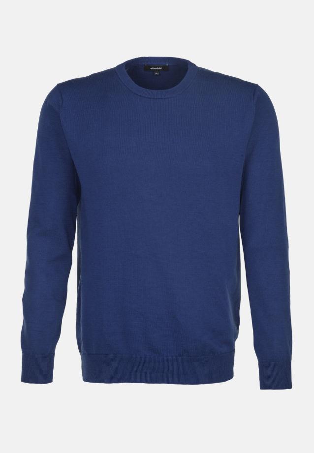 Crew Neck Pullover made of 100% Cotton in blau    Seidensticker Onlineshop