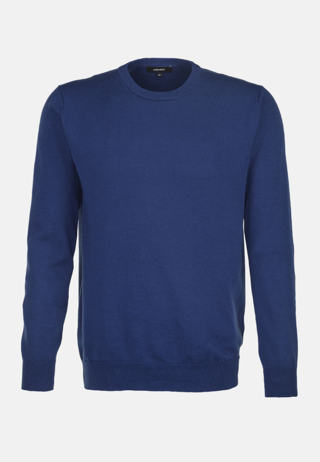 Crew Neck Pullover made of 100% Cotton in Medium blue |  Seidensticker Onlineshop