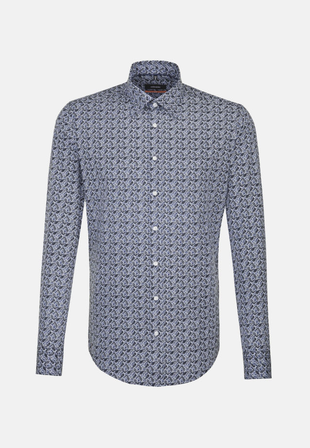 Bügelleichtes Popeline Business Hemd in Slim mit Covered-Button-Down-Kragen in blau |  Seidensticker Onlineshop