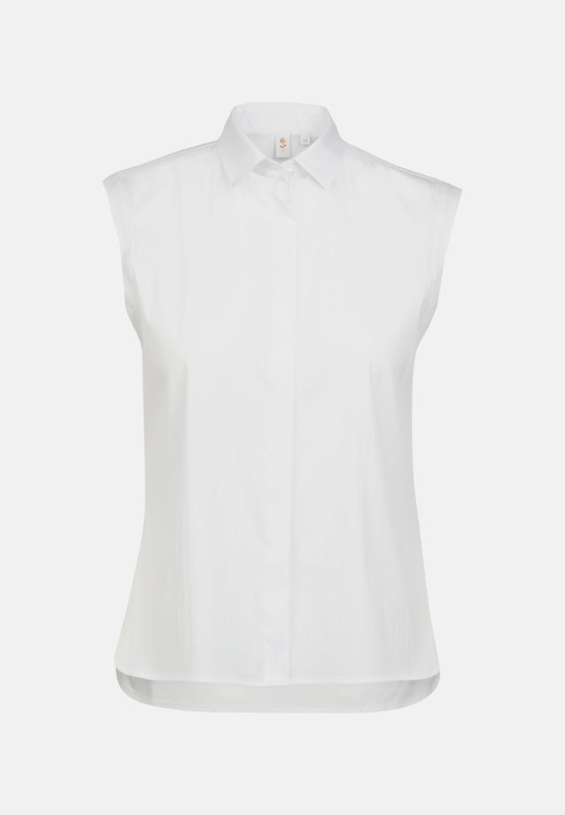 Ärmellose Popeline Hemdbluse aus 81% Baumwolle 16% Polyamid/Nylon 3% Elastan in Weiß |  Seidensticker Onlineshop