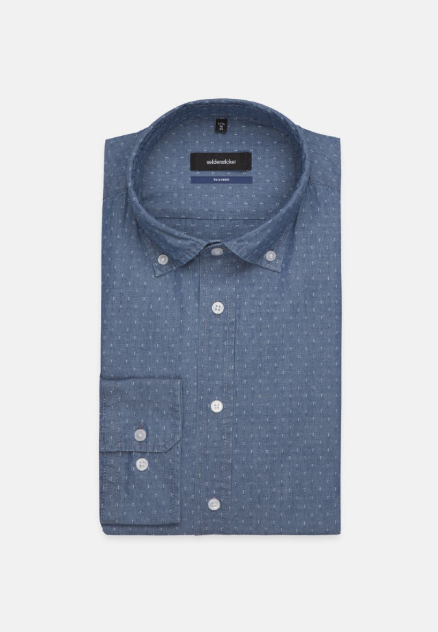 Bügelleichtes Struktur Business Hemd in Shaped mit Button-Down-Kragen in Mittelblau |  Seidensticker Onlineshop