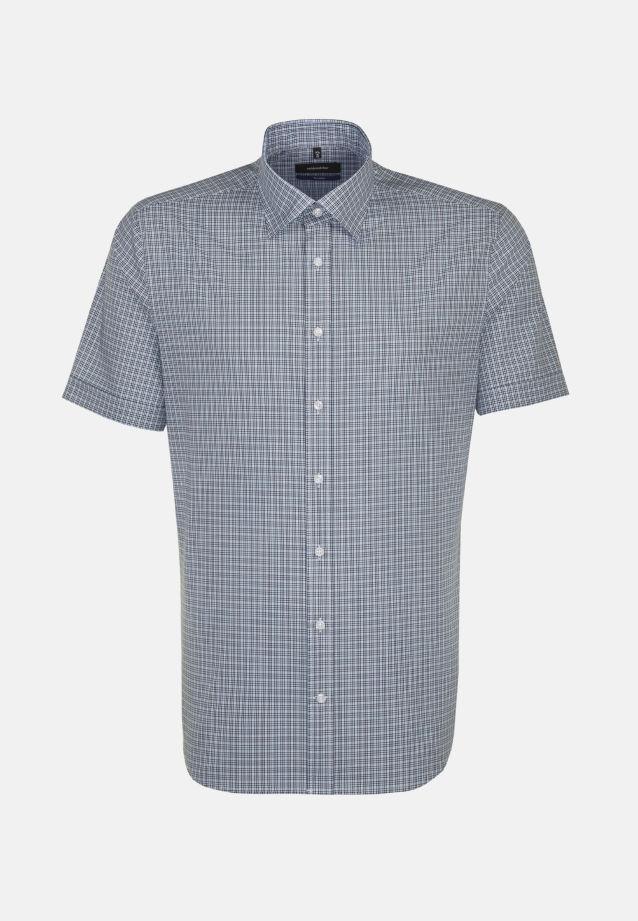 Bügelleichtes Popeline Kurzarm Business Hemd in Shaped mit Covered-Button-Down-Kragen in Türkis/Petrol    Seidensticker Onlineshop