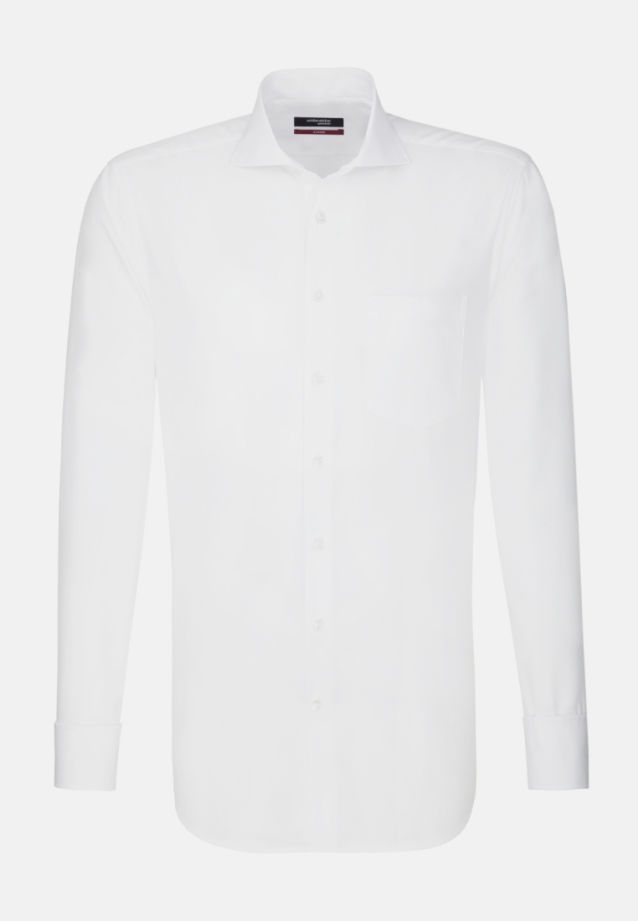 Non-iron Poplin Business Shirt in Regular with Shark Collar in White |  Seidensticker Onlineshop
