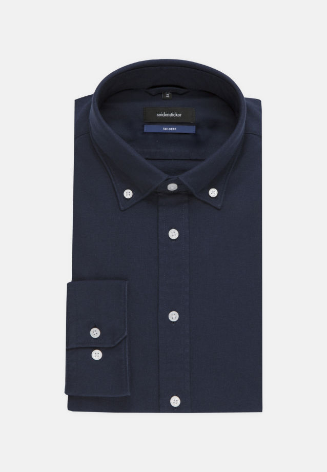 Bügelleichtes Oxford Business Hemd in Tailored mit Button-Down-Kragen in dunkelblau |  Seidensticker Onlineshop