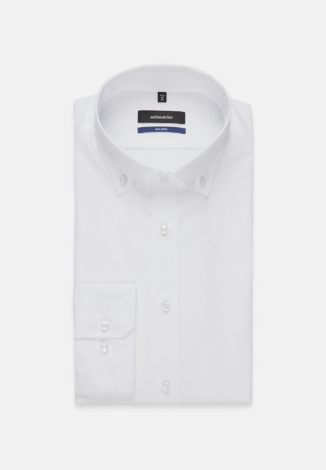 Bügelleichtes Oxford Business Hemd in Tailored mit Button-Down-Kragen in Weiß |  Seidensticker Onlineshop