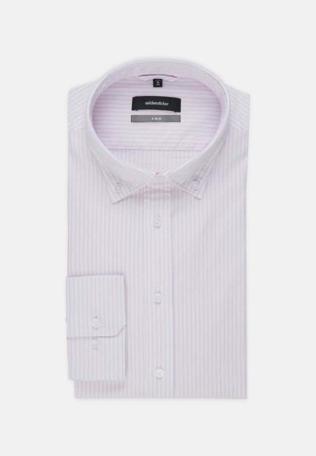 Bügelleichtes Oxford Business Hemd in X-Slim mit Button-Down-Kragen in Rosa/Pink |  Seidensticker Onlineshop