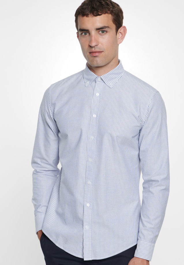 Bügelleichtes Oxford Business Hemd in Slim mit Button-Down-Kragen in blau |  Seidensticker Onlineshop