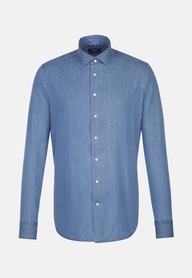 Bügelleichtes Denim Business Hemd in Tailored mit Kentkragen in Mittelblau |  Seidensticker Onlineshop