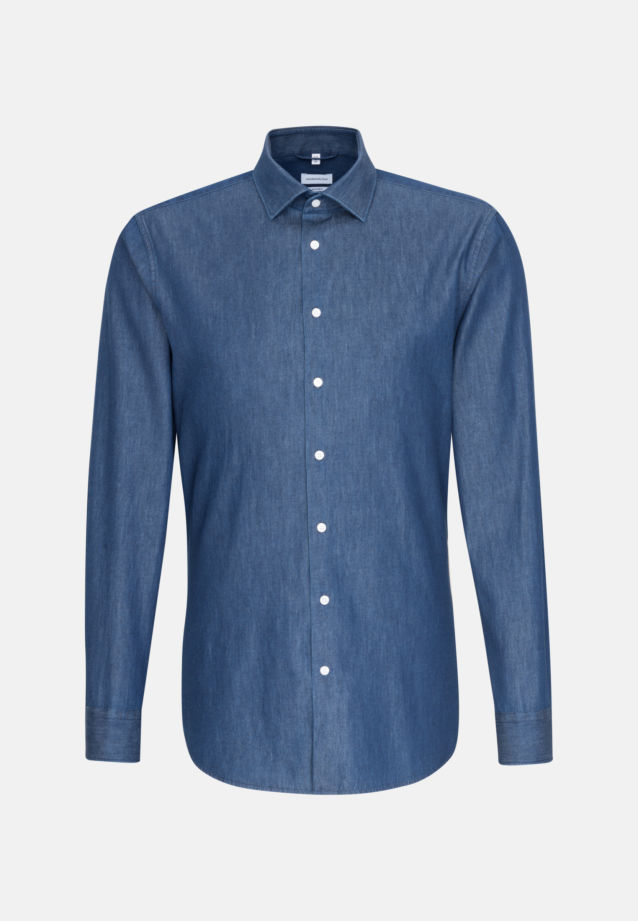 Easy-iron Denim Business Shirt in Shaped with Kent-Collar in Dark blue |  Seidensticker Onlineshop