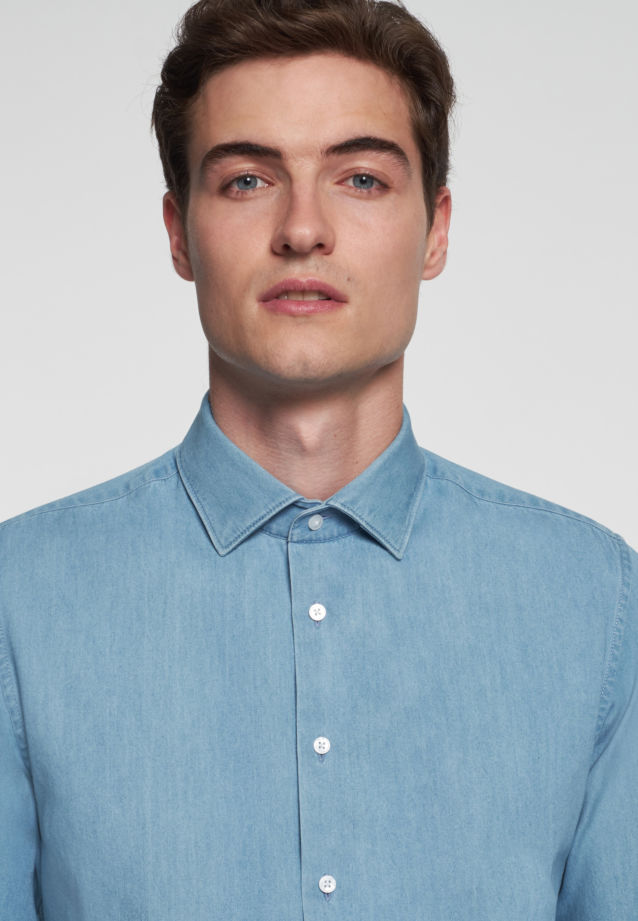 Easy-iron Denim Business Shirt in Slim with Kent-Collar in Hellblau |  Seidensticker Onlineshop