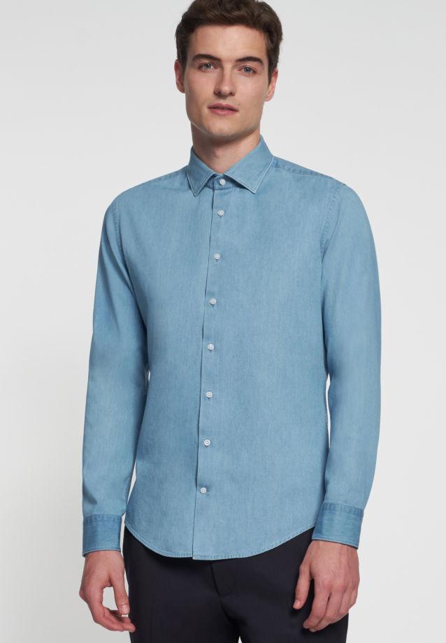 Bügelleichtes Denim Business Hemd in Slim mit Kentkragen in blau |  Seidensticker Onlineshop