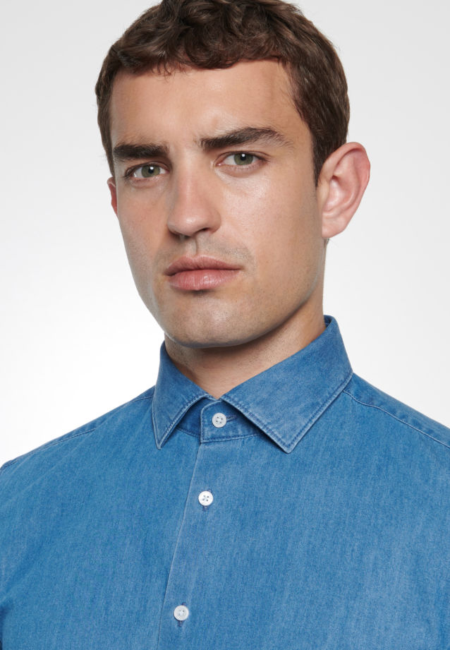 Easy-iron Denim Business Shirt in Slim with Kent-Collar in Medium blue |  Seidensticker Onlineshop