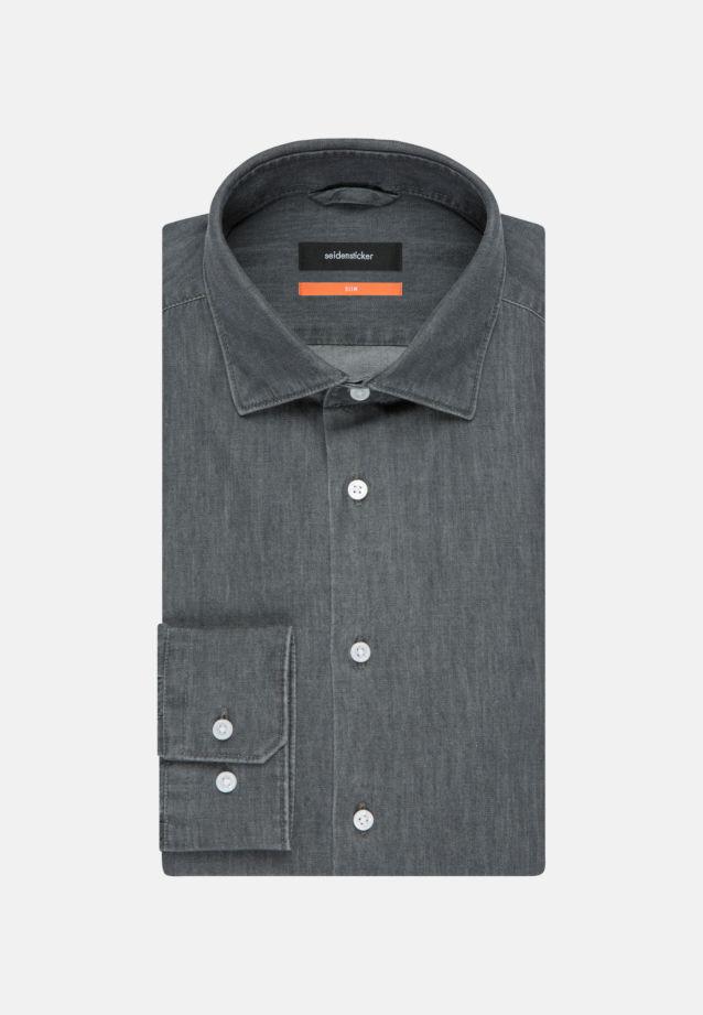 Bügelleichtes Denim Business Hemd in Slim mit Kentkragen in Grau    Seidensticker Onlineshop