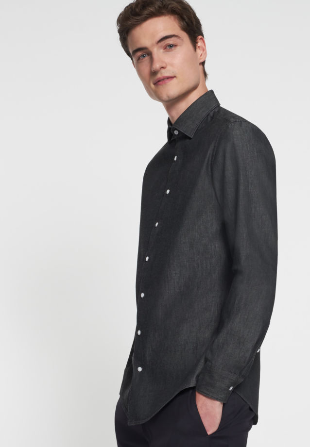 Easy-iron Denim Business Shirt in Slim with Kent-Collar in Grau |  Seidensticker Onlineshop