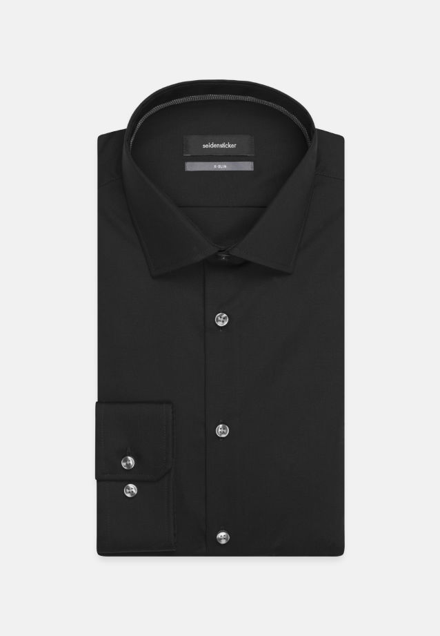 Non-iron Poplin Business Shirt in X-Slim with Kent-Collar in schwarz |  Seidensticker Onlineshop