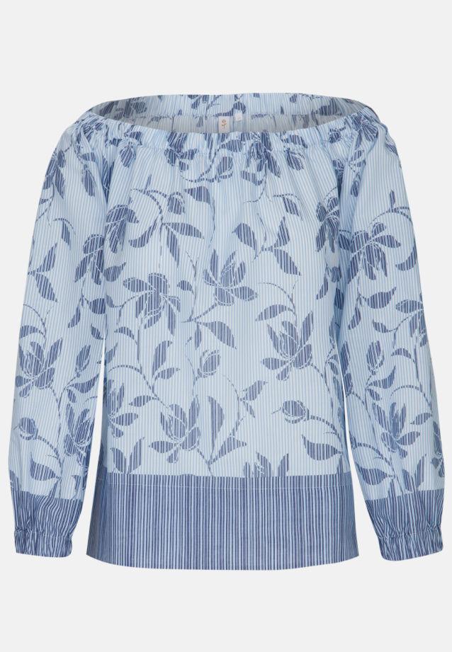 3/4 Arm Voile Carmenbluse aus 100% Baumwolle in blau weiß |  Seidensticker Onlineshop