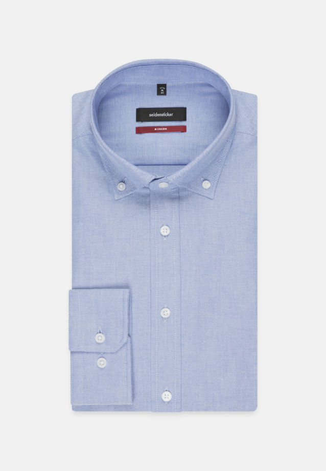 Bügelleichtes Oxford Business Hemd in Modern mit Button-Down-Kragen in Hellblau |  Seidensticker Onlineshop