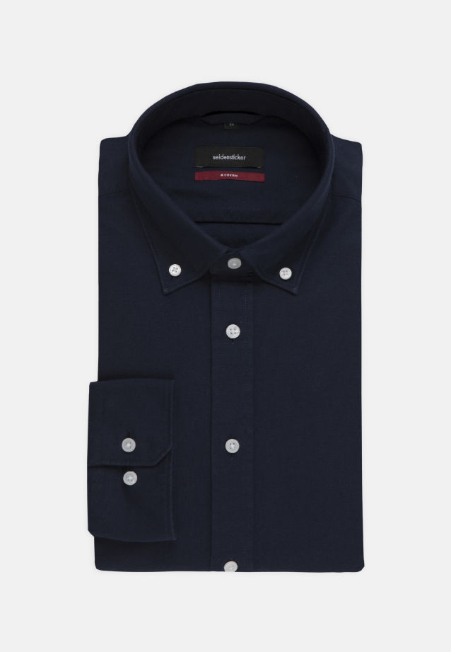 Bügelleichtes Oxford Business Hemd in Regular mit Button-Down-Kragen in Dunkelblau |  Seidensticker Onlineshop