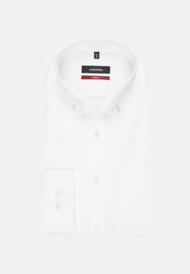 Bügelleichtes Oxford Business Hemd in Modern mit Button-Down-Kragen in Weiß |  Seidensticker Onlineshop