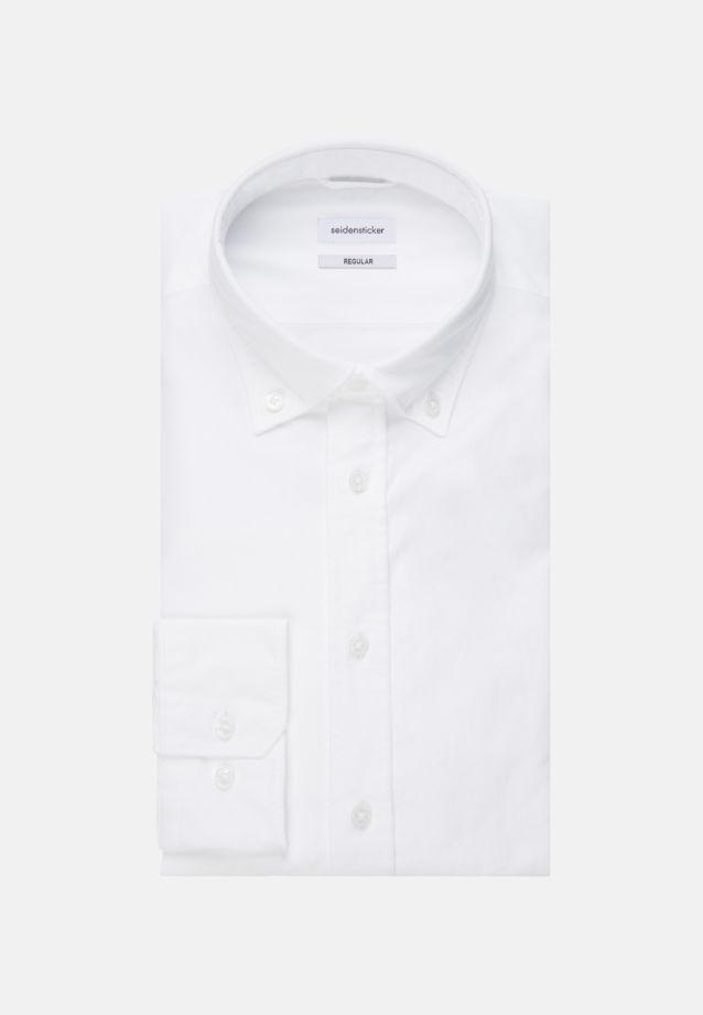 Bügelleichtes Oxford Business Hemd in Regular mit Button-Down-Kragen in Weiß |  Seidensticker Onlineshop