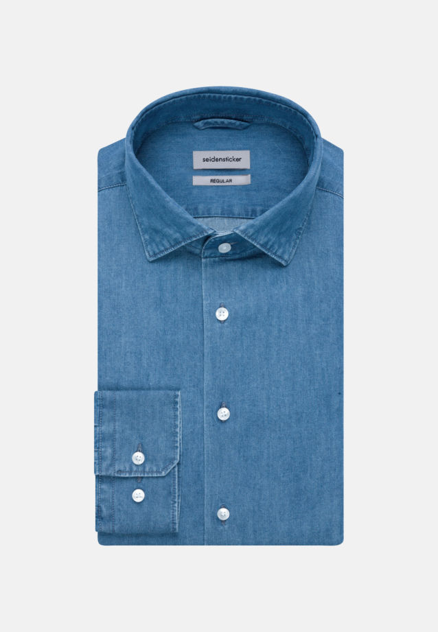 Bügelleichtes Denim Business Hemd in Regular mit Kentkragen in Mittelblau |  Seidensticker Onlineshop