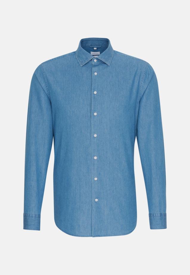 Bügelleichtes Denim Business Hemd in Regular mit Kentkragen in Mittelblau    Seidensticker Onlineshop