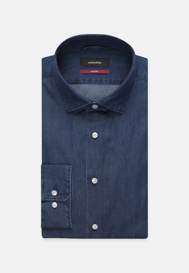 Easy-iron Denim Business Shirt in Modern with Kent-Collar in Dark blue |  Seidensticker Onlineshop