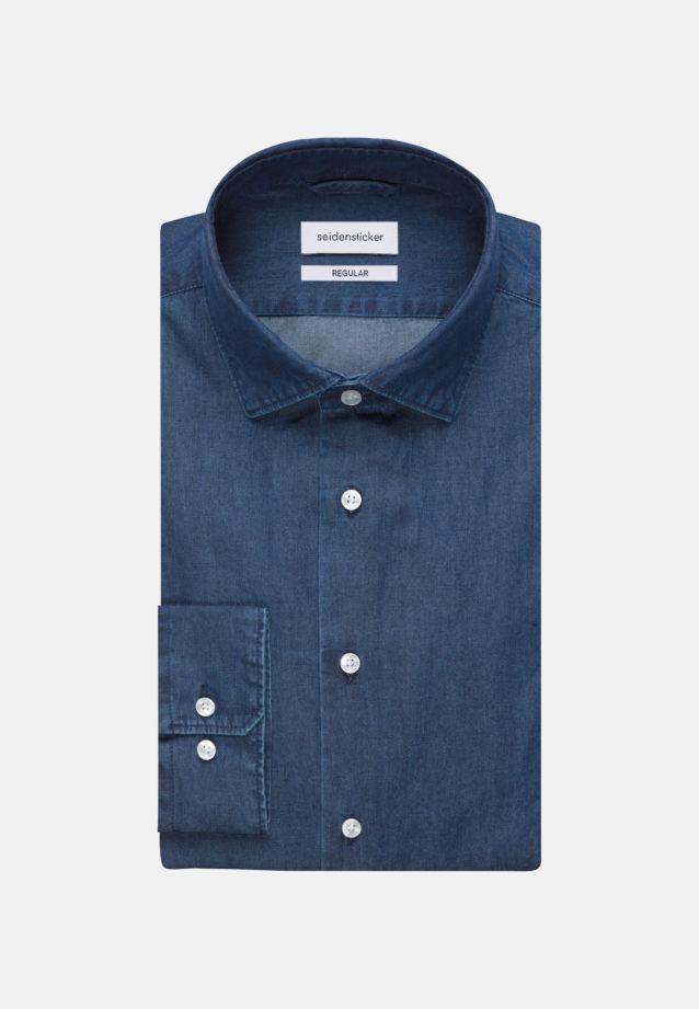 Bügelleichtes Denim Business Hemd in Regular mit Kentkragen in Dunkelblau |  Seidensticker Onlineshop