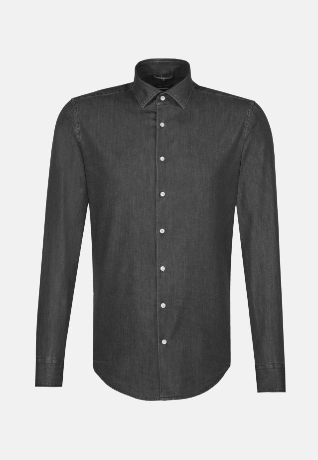 Easy-iron Denim Business Shirt in Regular with Kent-Collar in Grau |  Seidensticker Onlineshop