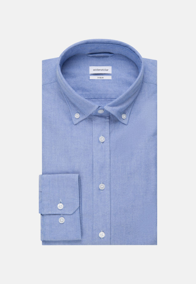 Bügelleichtes Oxford Business Hemd in X-Slim mit Button-Down-Kragen in Hellblau |  Seidensticker Onlineshop