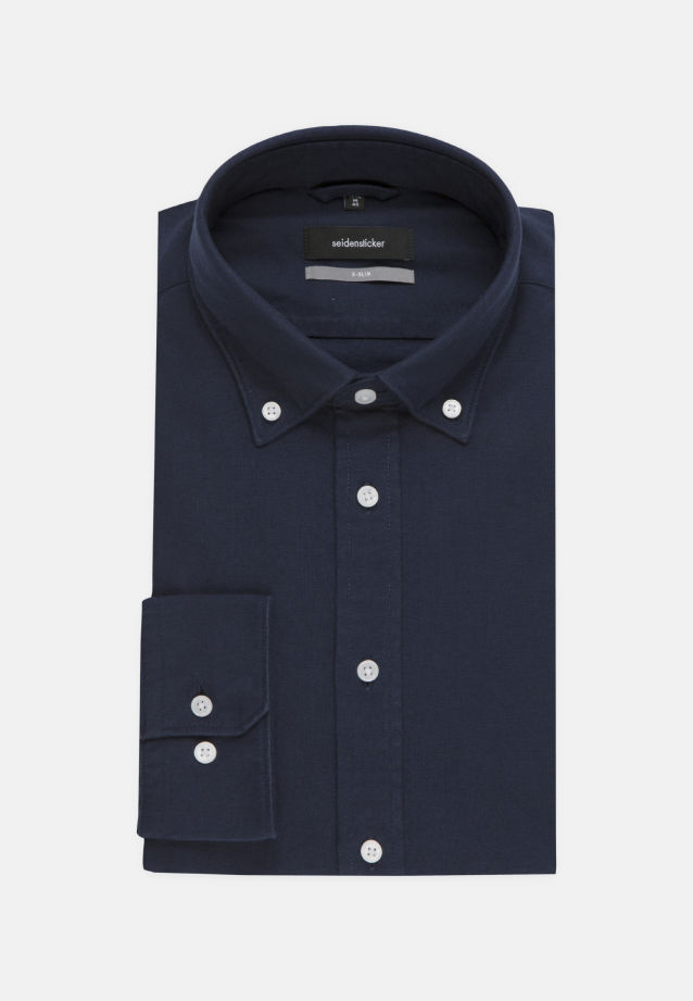 Bügelleichtes Oxford Business Hemd in X-Slim mit Button-Down-Kragen in Dunkelblau |  Seidensticker Onlineshop