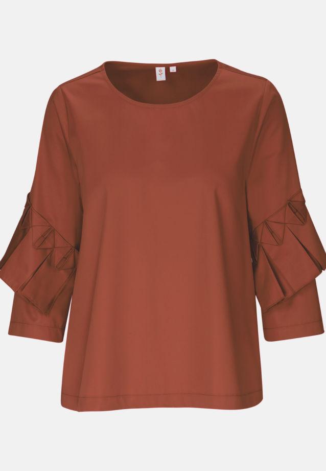 3/4 Arm Satin Shirtbluse aus Baumwollmischung in Orange    Seidensticker Onlineshop