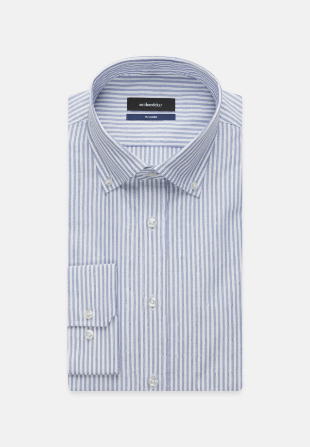 Bügelleichtes Oxford Business Hemd in Tailored mit Button-Down-Kragen in Hellblau |  Seidensticker Onlineshop